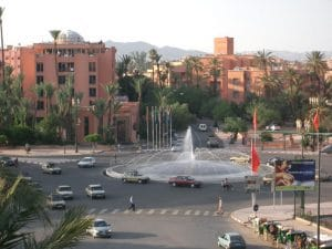 View of the newer part of Marrakech from my private balcony.