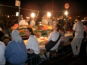 When night set in, dozens of vendors set up their food tables.